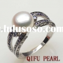 factory direct sales jewellery:silver pearl ring