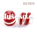 Red Hand Painted Christmas Candy Cane Striped Lampwork Glass Beads
