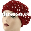 ladies knit beret with sequins/knit beret/fashion hat/sequins hat