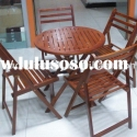 Stocklot garden wooden furniture 5pcs table set/ wooden home furniture 5pcs table set