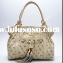 2011 design leather handbag beige
