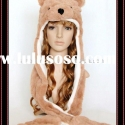 2011 NEW CARTOON PLUSH ANIMAL HEAD HAT/CAP WITH GLOVES BROWN BEAR