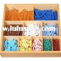 Montessori woden educational toy -Decanomial beads bar box