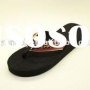 men s slippers,embroidered strap plain black flip flops