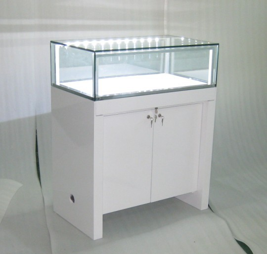 White glossy display counter showcase with LED lights(DM1205L)