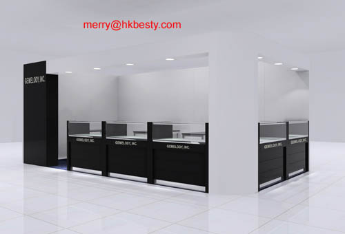 Design and make unique LED jewelry display counter showcase for you(3D-2)