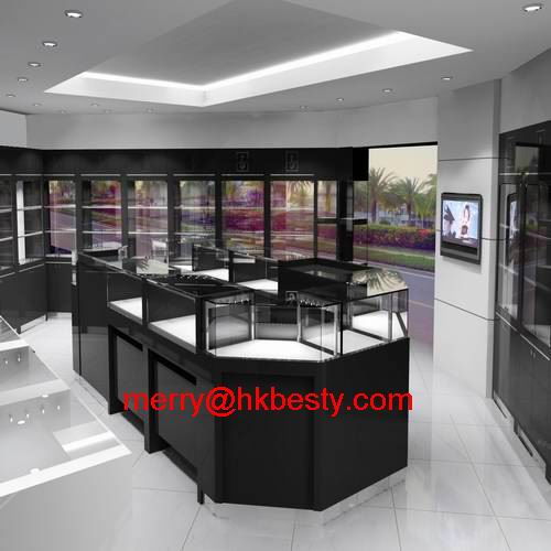 Custom made LED jewellery display kiosk showcase as ratail store fixture