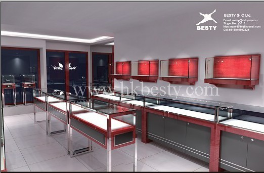 2011 fashion jewelry display counter cabinet showcase(BT112)