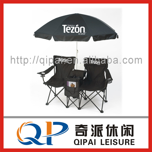 Folding chair/ camping chair/doule seat chair ,with umbrella and cooler bag
