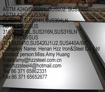 stainless steel ASTM A240/SUS201, ASTM A240/SUS 202, ASTM A240/SUS 310S