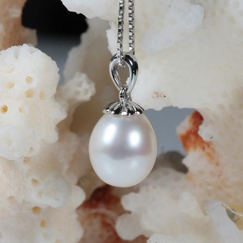 14k white gold freshwater pearl necklace,pearl jewelry
