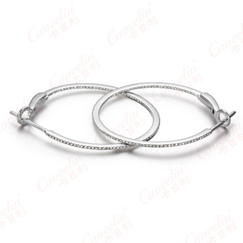 sterling silver diamond hoop fashion earrings,925 silver jewelry