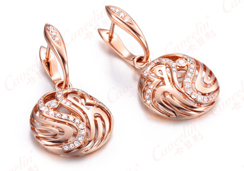sterling silver rose gold plated diamond earrings,925 silver jewelry