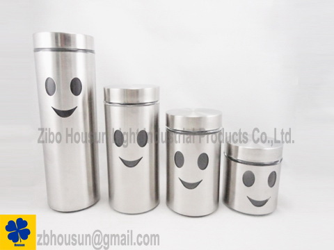 SET OF 4 Glass Canister With Metal Casing
