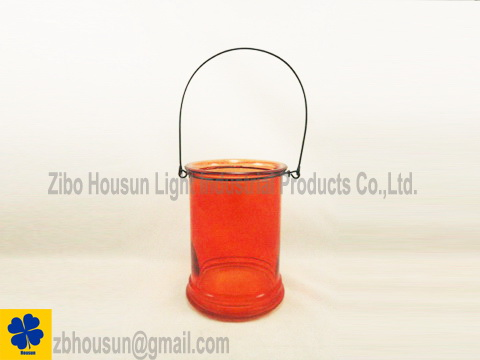 Clear Color Glass Lantern Glass Candle Jar With Metal Handle