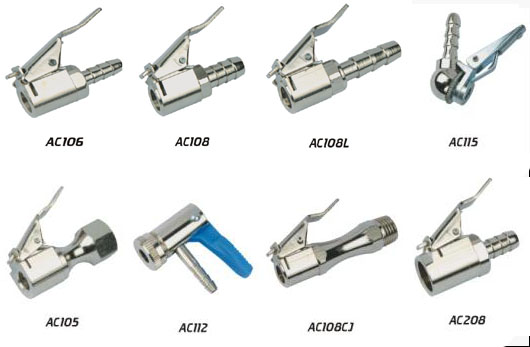 """Euro Style Air Chuck 5/16"""" Hose Barb, Nickel Plated Brass"""