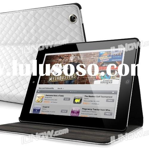 Grid Pattern Chanel Style Folio Stand Leather Case Cover for The new iPad/iPad 2 - White