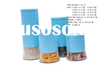 4 pcs glass jars with colorful metal coating and metal lids