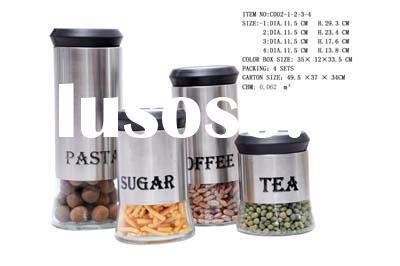 glass canister with stainless steel coating
