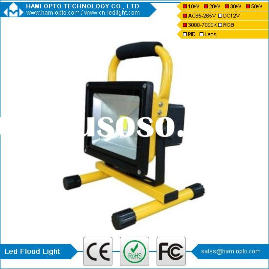 CE certified IP65 Bridgelux COB outdoor Portable rechargeable led flood light 10W 20W