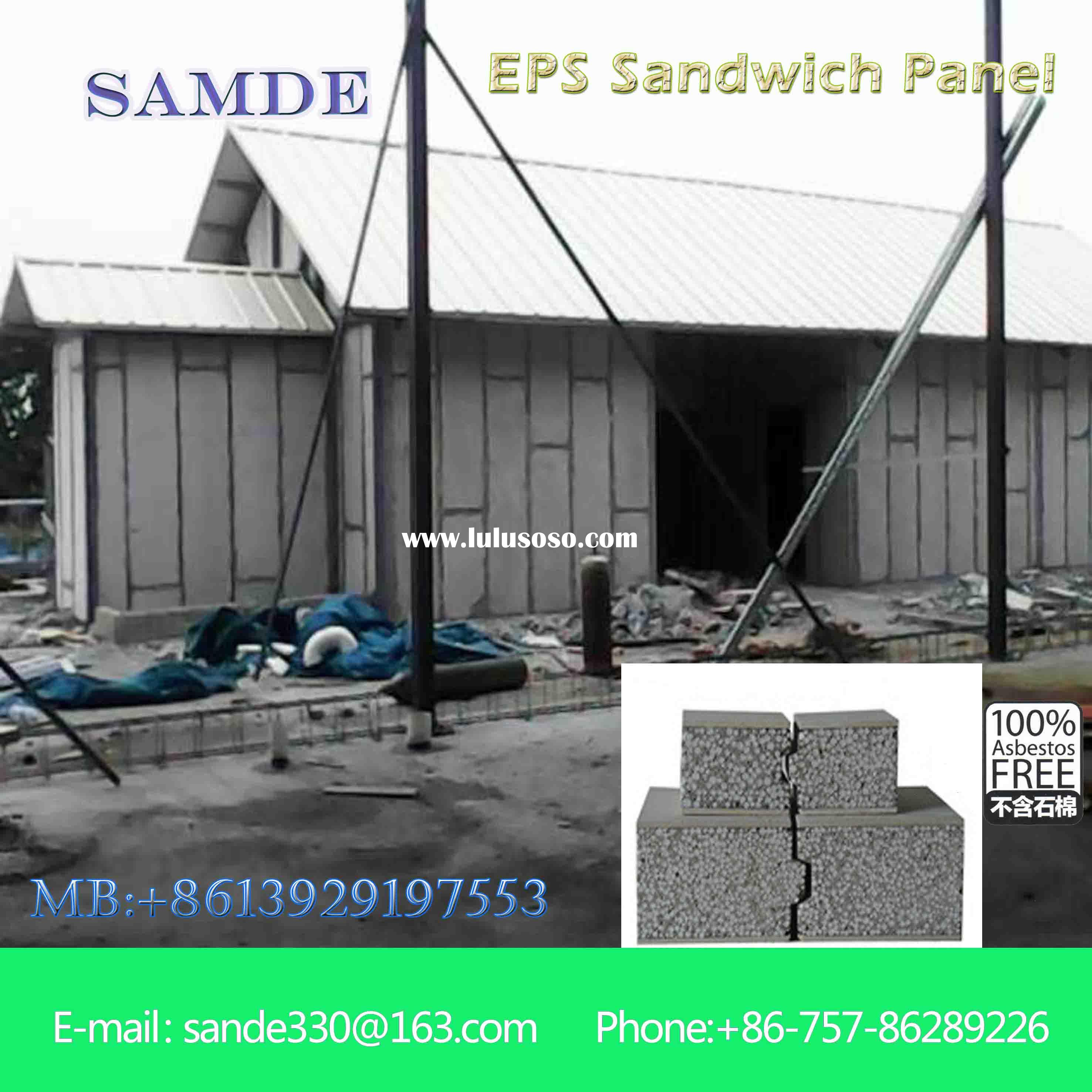 Fireproof wall material with composite sandwich wall panel for cold room