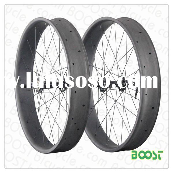 boostbicycle 26 inch Carbon Fat Bike wheelset 100mm Width 25mm Depth Hookless Tubeless Compatible