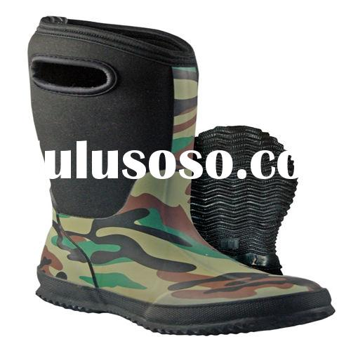Camo neoprene boots with rubber outsole for boys
