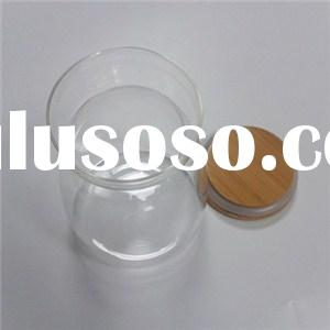Wide Mouth Bamboo Cap Glass Jars