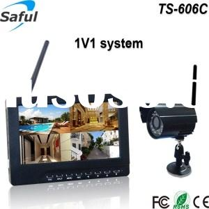 "TS-606C 1V1 7"" TFT-LCD wireless CCTV camera monitoring system 12V with function of dvr function"