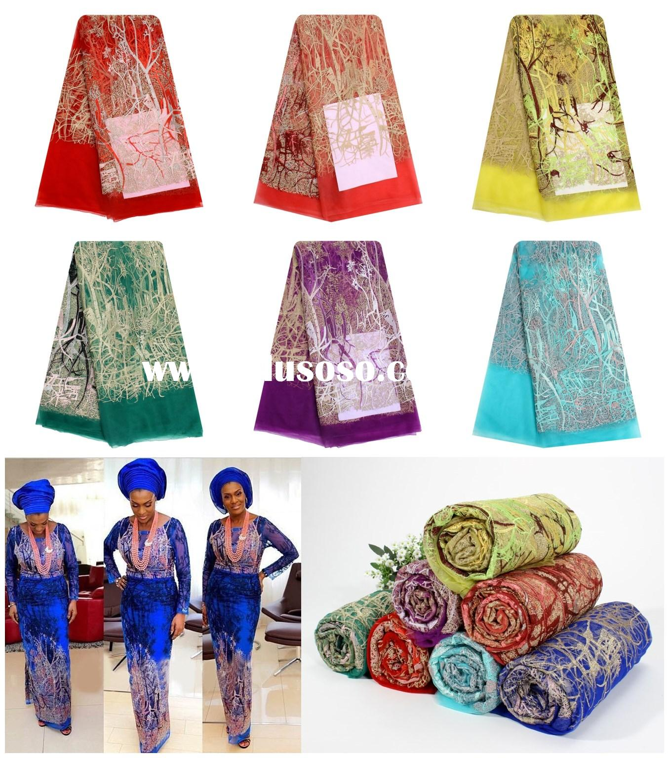 African Tulle Lace Fabric with Stones