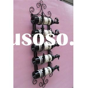 Unique 5 Bottle Metal Wall Mounted Metal Wine Display Racks MH-MR-15030
