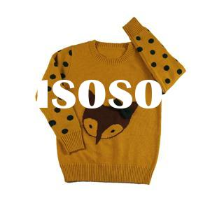 2015 fall fine quality jacquard fox knitwear dotted wool pullover sweater