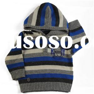 2015 winter baby boy's jersey striped hoody pullover sweater printing applique knitwear