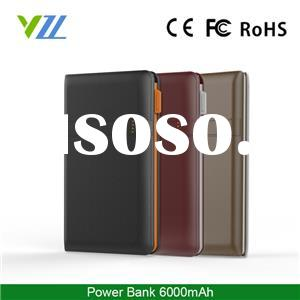 New Hot Products 2016 Leather-grain Power Bank 6000mah With Buit-in Cable