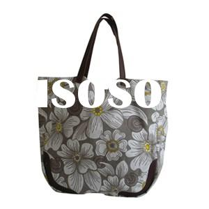 Process Fully Printed Canvas Handbag With Synthetic Leather Handles