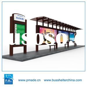 Bus shelter with advertising outdoor light box