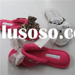 Cute Bowknot Coral Fleece Plush Indoor Women Slippers