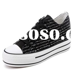 Fashion Black Women''s Doodle Style Letter Printed Plimsolls Shoes