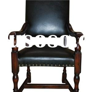 Traditional Style Fauteuil High Back Dining Chairs With Armrest