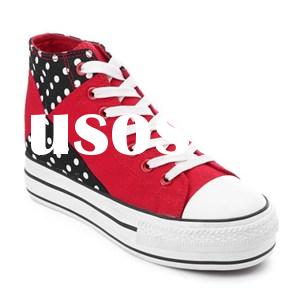 Classic Prevalent Red Women''s Hi-top Platform Lace Up Canvas Sneakers