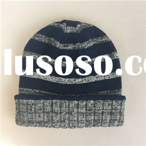 Quality Acrylic contrast color jacquard knitted men Flanging hat