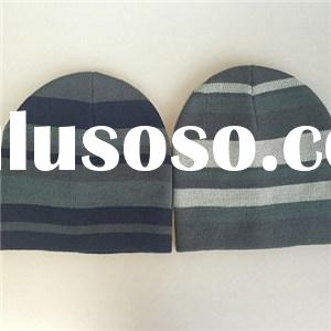 Quality Acrylic contrast color jacquard knitted men beanie hat