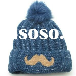 Quality Acrylic contrast color jacquard knitted lady flanging hat with pom and embroidered mustache