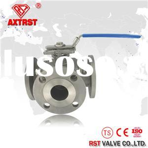 Flanged Stainless Steel Three Way Ball Valve With ISO5211 Direct Mounting Pad ( T/L Port) 1/2~8 Inch