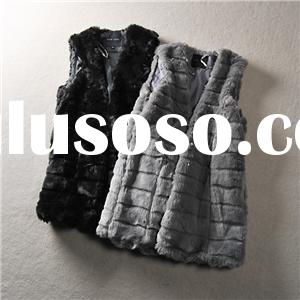 Relaxed Clothing Fit Soft And Long Women Vest Craft In Grey Black And Fur Tonal Faux Fur