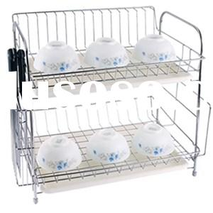 Kitchen Accessories Durable Stainless Steel 2 Tiers Dish Drying Racks