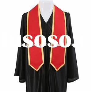 Wholesale Graduation Stole Red Satin With Gold Rim