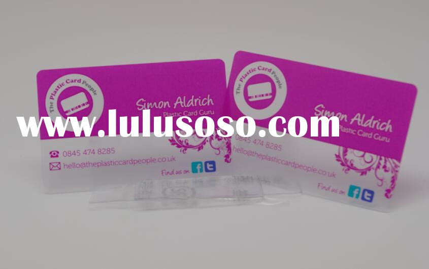 Beautiful printing standard size clear transparent business card