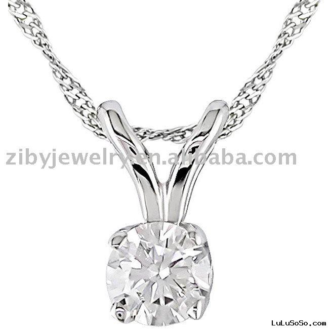 14k Gold 1/6ct TDW Round Diamond Solitaire Necklace