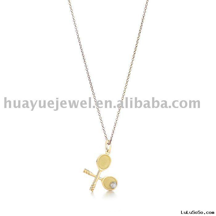 18K gold brand necklace